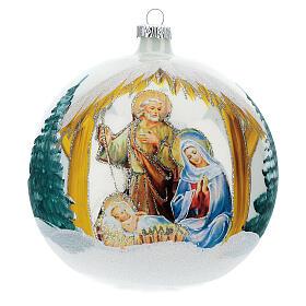 Boule Noël Nativité fond blanc verre soufflé 150 mm s1