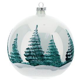 Boule Noël Nativité fond blanc verre soufflé 150 mm s5