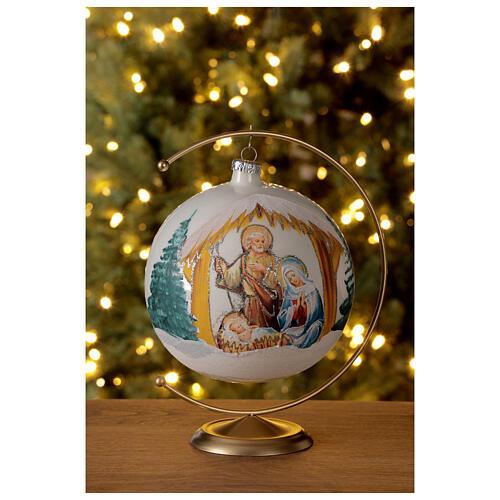 Boule Noël Nativité fond blanc verre soufflé 150 mm 2