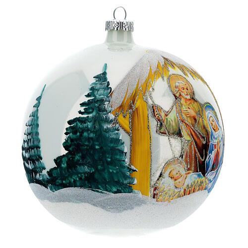 Pallina Natale Natività sfondo bianco vetro soffiato 150 mm 4