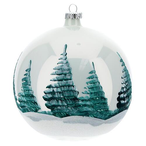 Pallina Natale Natività sfondo bianco vetro soffiato 150 mm 5