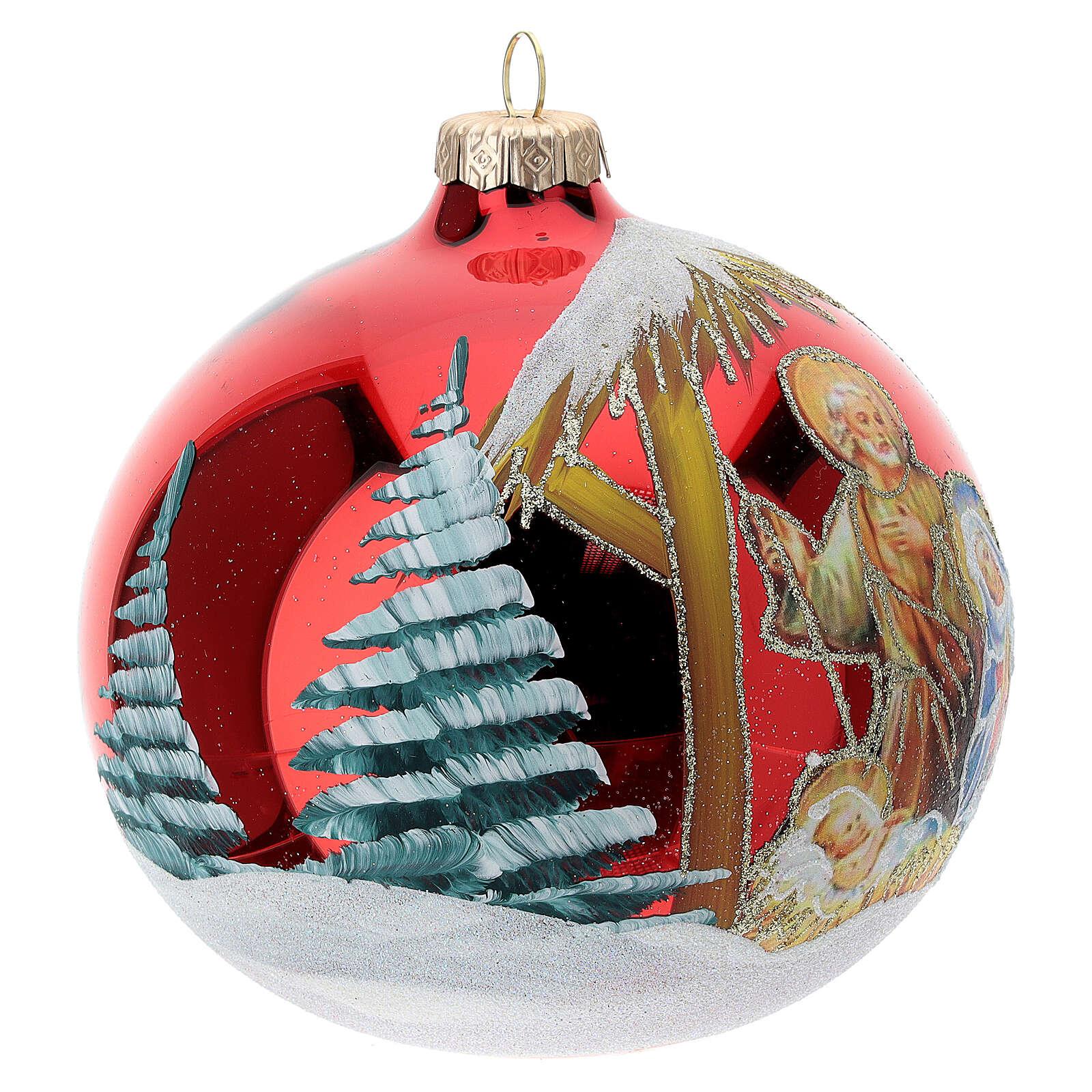 Nativity Christmas tree ornament red blown glass 120 mm 4