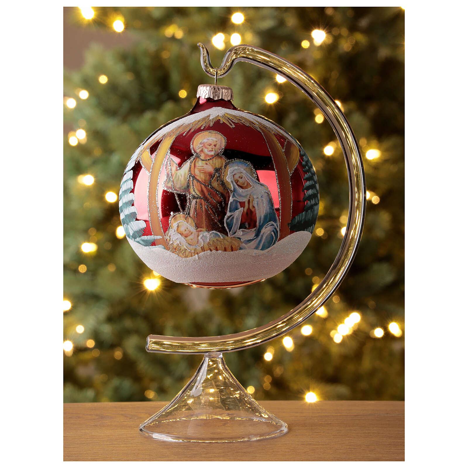 Boule sapin Noël Sainte Famille base rouge verre soufflé 120 mm 4