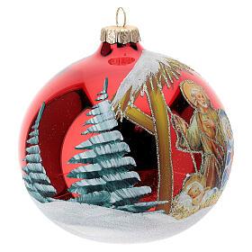 Boule sapin Noël Sainte Famille base rouge verre soufflé 120 mm s4