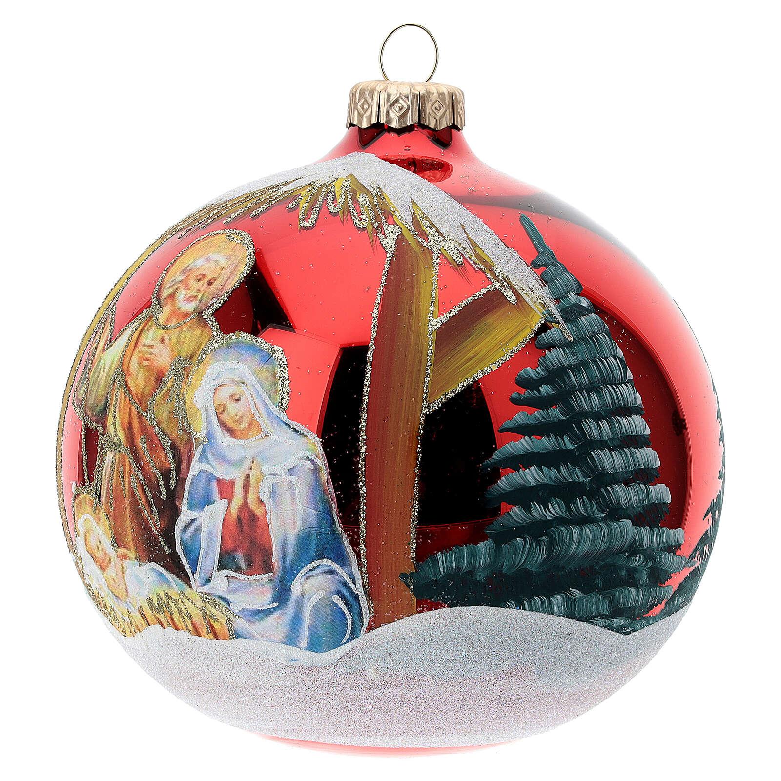Bola árvore de Natal vidro soprado Sagrada Família fundo vermelho 120 mm 4