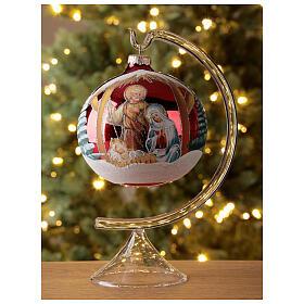 Bola árvore de Natal vidro soprado Sagrada Família fundo vermelho 120 mm s2