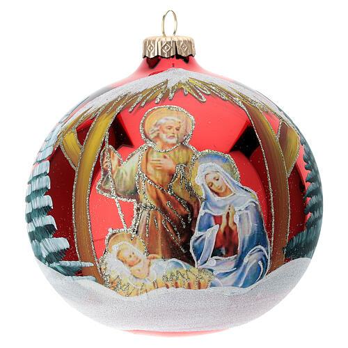 Bola árvore de Natal vidro soprado Sagrada Família fundo vermelho 120 mm 1