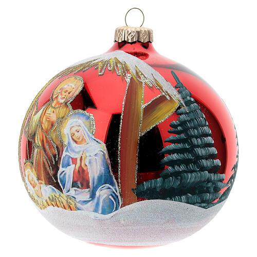 Bola árvore de Natal vidro soprado Sagrada Família fundo vermelho 120 mm 3
