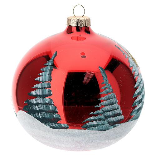 Bola árvore de Natal vidro soprado Sagrada Família fundo vermelho 120 mm 5