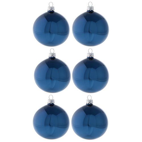 Boule sapin Noël bleu brillant verre soufflé 80 mm 6 pcs 1