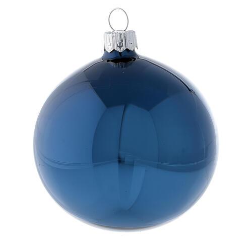 Pallina albero Natale blu lucido vetro soffiato 80 mm 6 pz 2