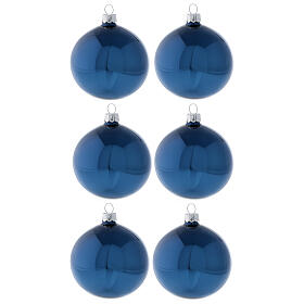 Shiny blue Christmas tree ornaments blown glass 80 mm 6 pcs s1