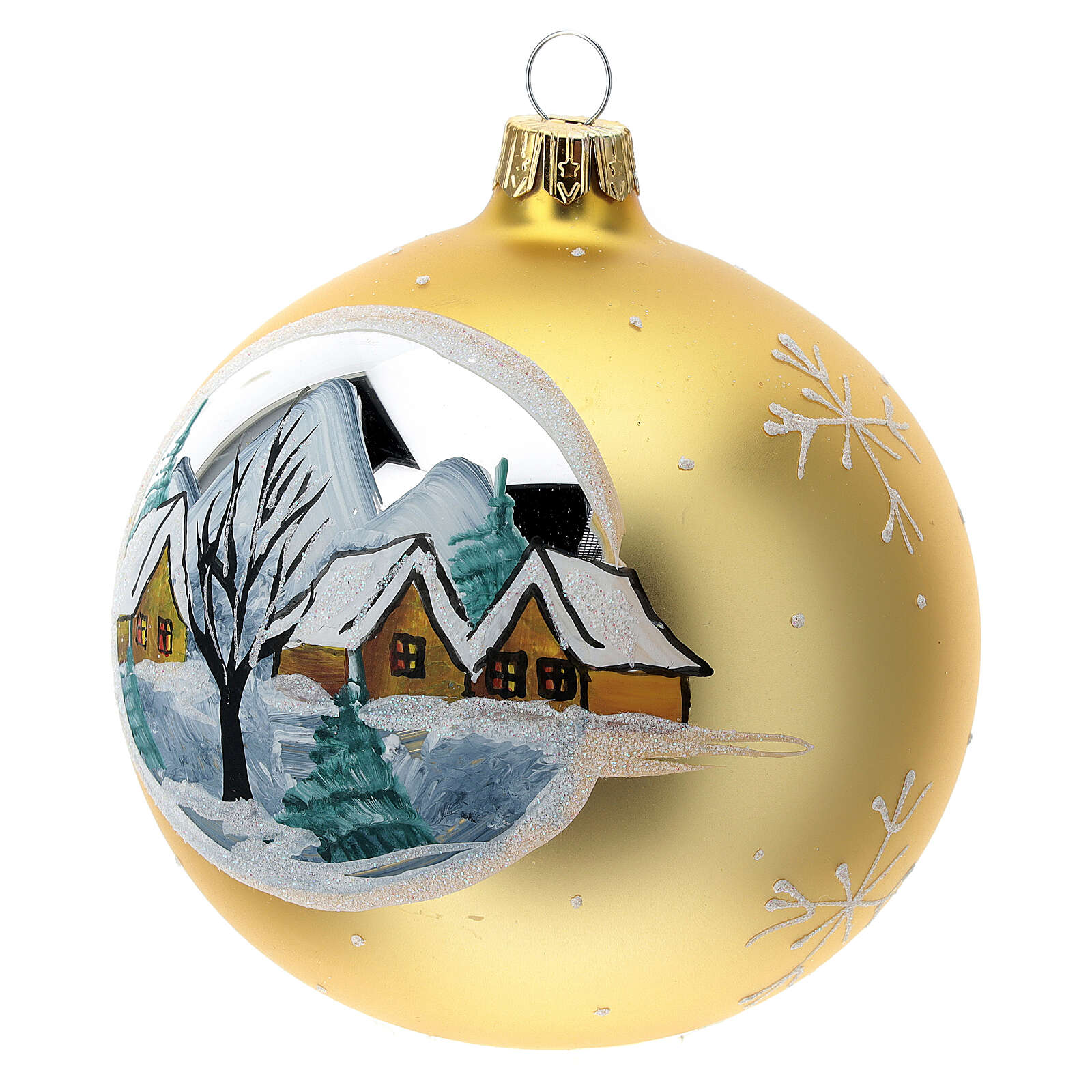 Christmas ball gold mountain village blown glass 100 mm 4