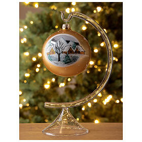 Christmas ball gold mountain village blown glass 100 mm s2