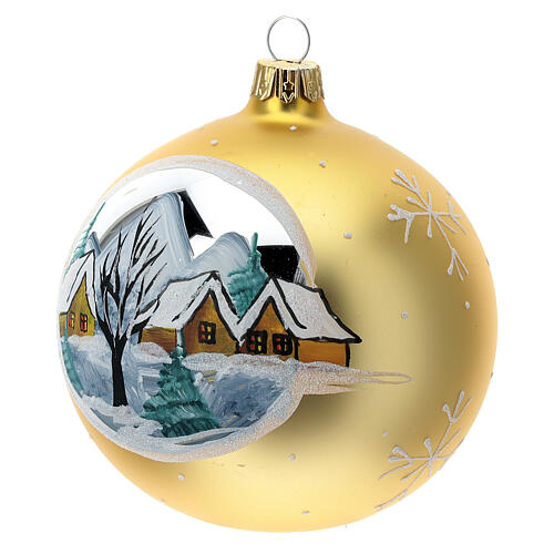 Christmas ball gold mountain village blown glass 100 mm 3
