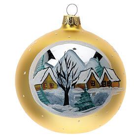 Bola árvore de Natal aldeia de montanha vidro soprado dourado 100 mm s1