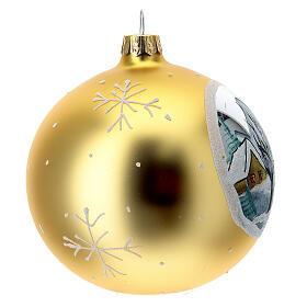 Bola árvore de Natal aldeia de montanha vidro soprado dourado 100 mm s4