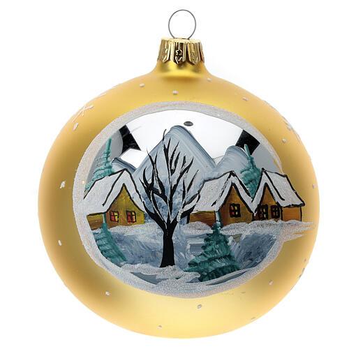 Bola árvore de Natal aldeia de montanha vidro soprado dourado 100 mm 1