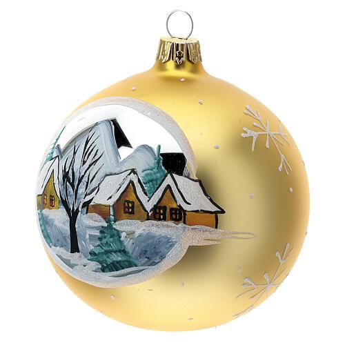 Bola árvore de Natal aldeia de montanha vidro soprado dourado 100 mm 3