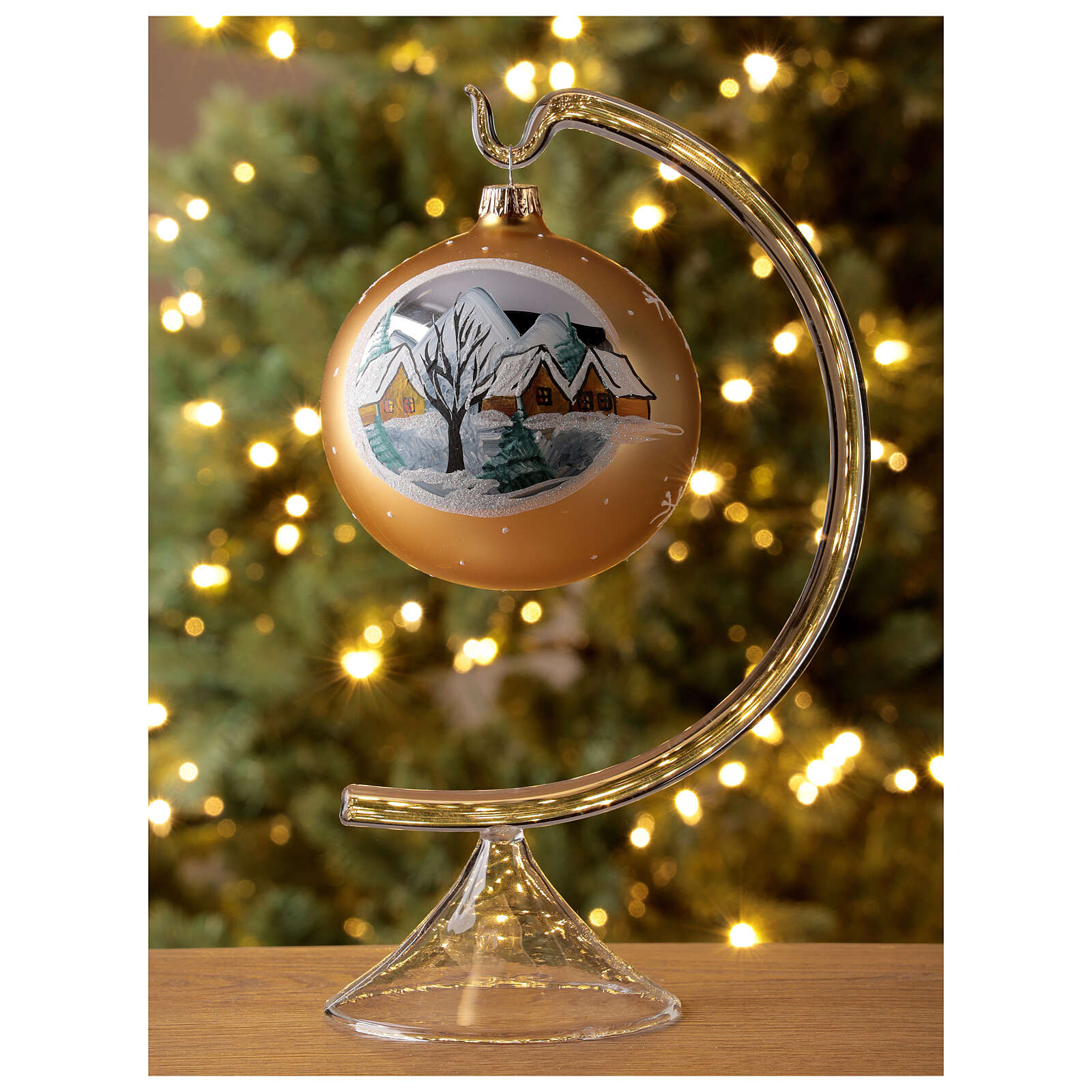 Christmas ball gold mountain village blown glass 100 mm 4