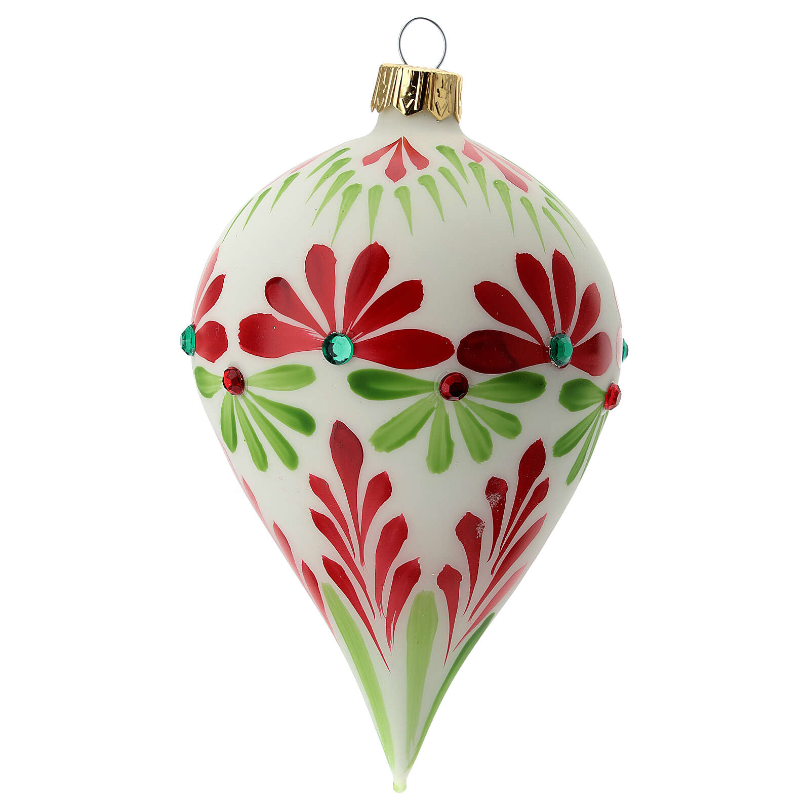 Boule Noël goutte fleurs stylisées verre soufflé 4