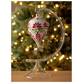 Boule Noël goutte fleurs stylisées verre soufflé s2