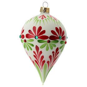 Boule Noël goutte fleurs stylisées verre soufflé s3