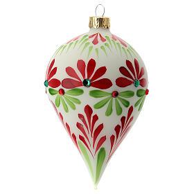 Boule Noël goutte fleurs stylisées verre soufflé s4