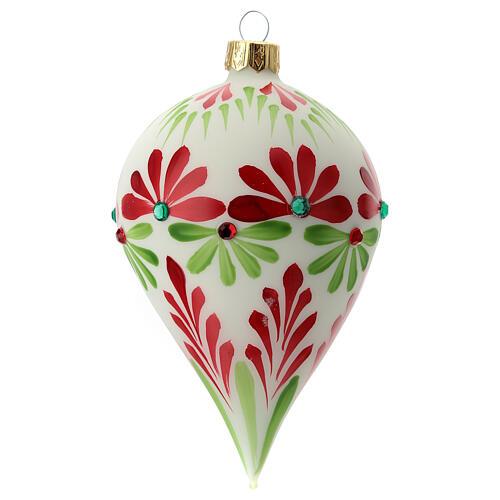 Boule Noël goutte fleurs stylisées verre soufflé 1