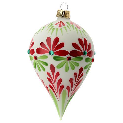 Boule Noël goutte fleurs stylisées verre soufflé 3