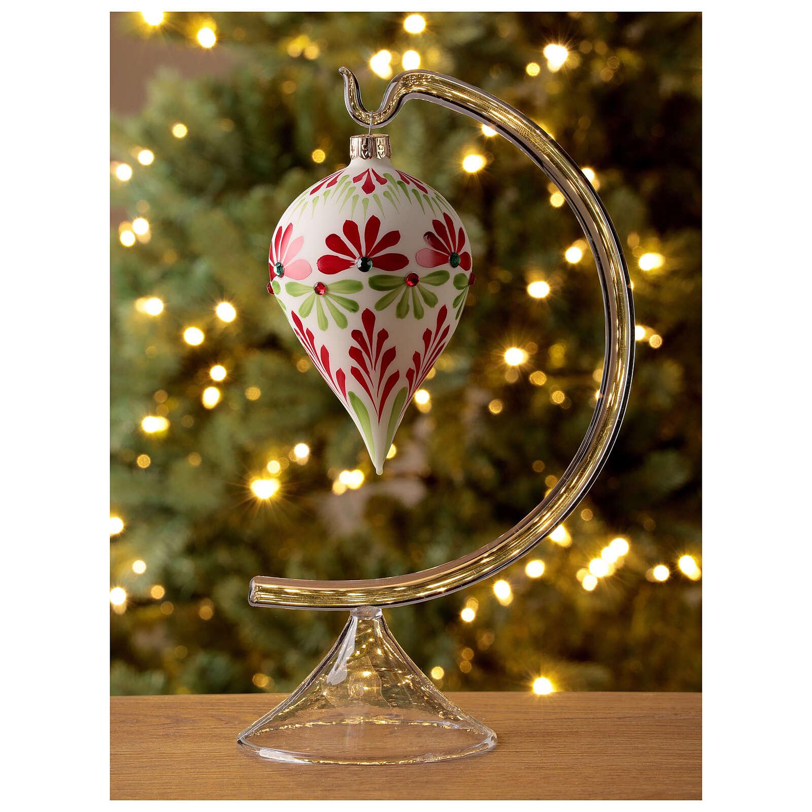Pallina Natale goccia fiori stilizzati vetro soffiato 4