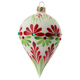 Pallina Natale goccia fiori stilizzati vetro soffiato s3