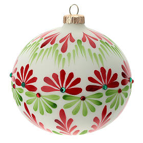 Christmas ball stones coloured flowers white blown glass 120 mm s1