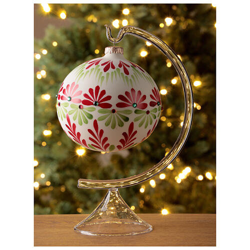 Christmas ball stones coloured flowers white blown glass 120 mm 2
