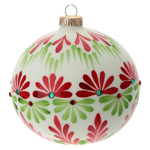 Christmas ball stones coloured flowers white blown glass 120 mm 3