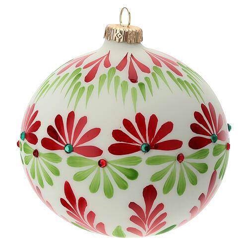 Christmas ball stones coloured flowers white blown glass 120 mm 4