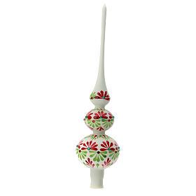 Punta árbol Navidad tricolor vidrio soplado flores 35 cm s2