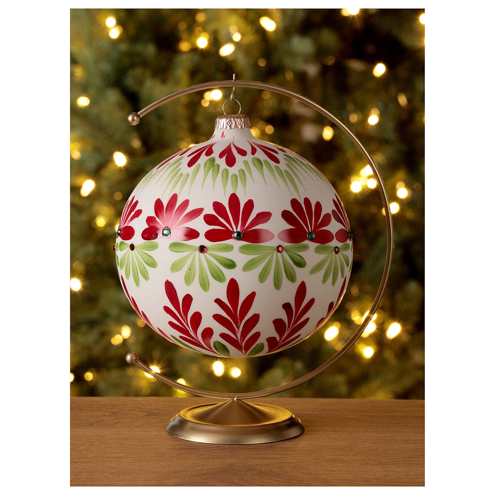 Christmas ball white stylised flowers green red blown glass 150 mm 4
