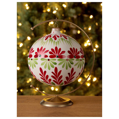 Christmas ball white stylised flowers green red blown glass 150 mm 2