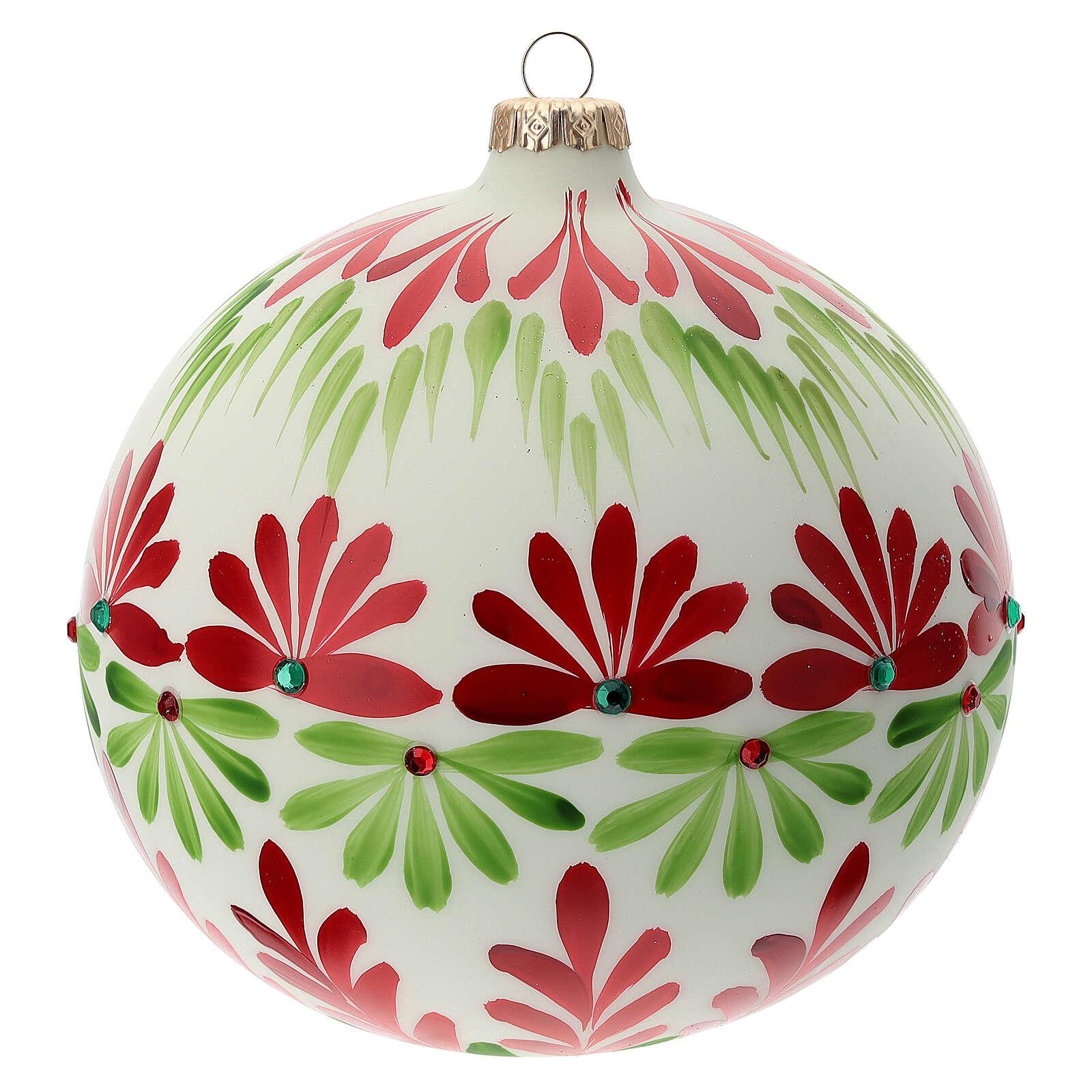 Pallina Natale bianca fiori stilizzati verde rosso vetro soffiato 150 mm 4