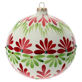 Pallina Natale bianca fiori stilizzati verde rosso vetro soffiato 150 mm s1