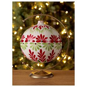 Pallina Natale bianca fiori stilizzati verde rosso vetro soffiato 150 mm s2
