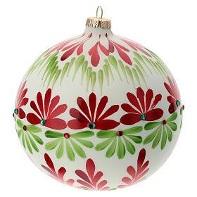 Pallina Natale bianca fiori stilizzati verde rosso vetro soffiato 150 mm s4
