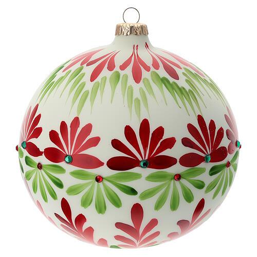 Pallina Natale bianca fiori stilizzati verde rosso vetro soffiato 150 mm 1