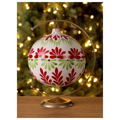 Pallina Natale bianca fiori stilizzati verde rosso vetro soffiato 150 mm 2