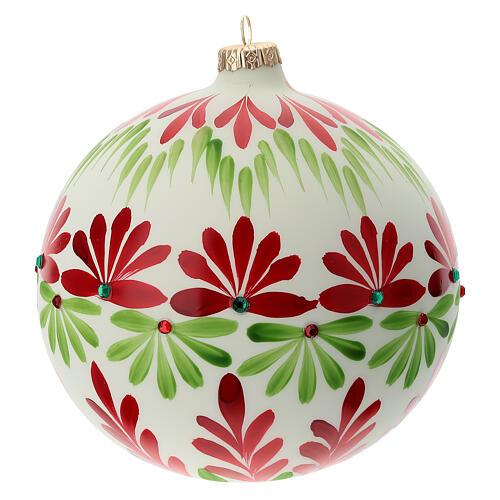 Pallina Natale bianca fiori stilizzati verde rosso vetro soffiato 150 mm 3