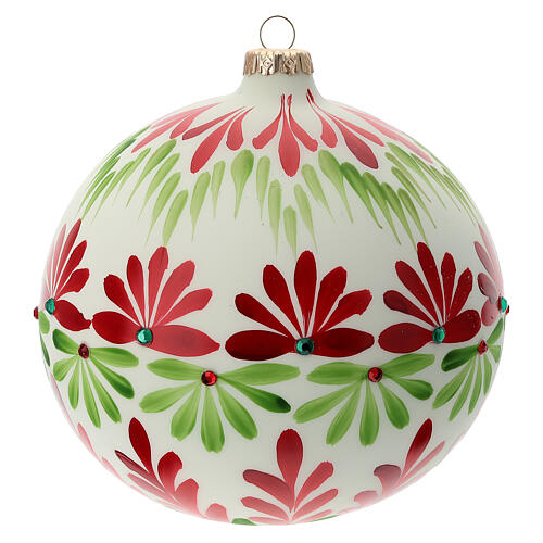 Bola árvore de Natal branca com flores estilizados vidro soprado 150 mm 1