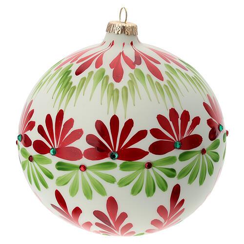 Bola árvore de Natal branca com flores estilizados vidro soprado 150 mm 4