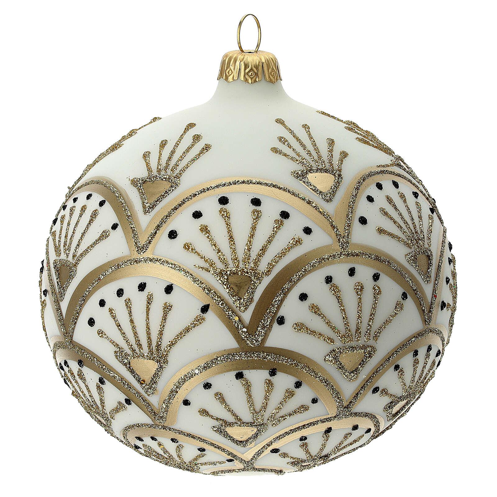 Christmas tree ball white gold blown glass 120 mm 4