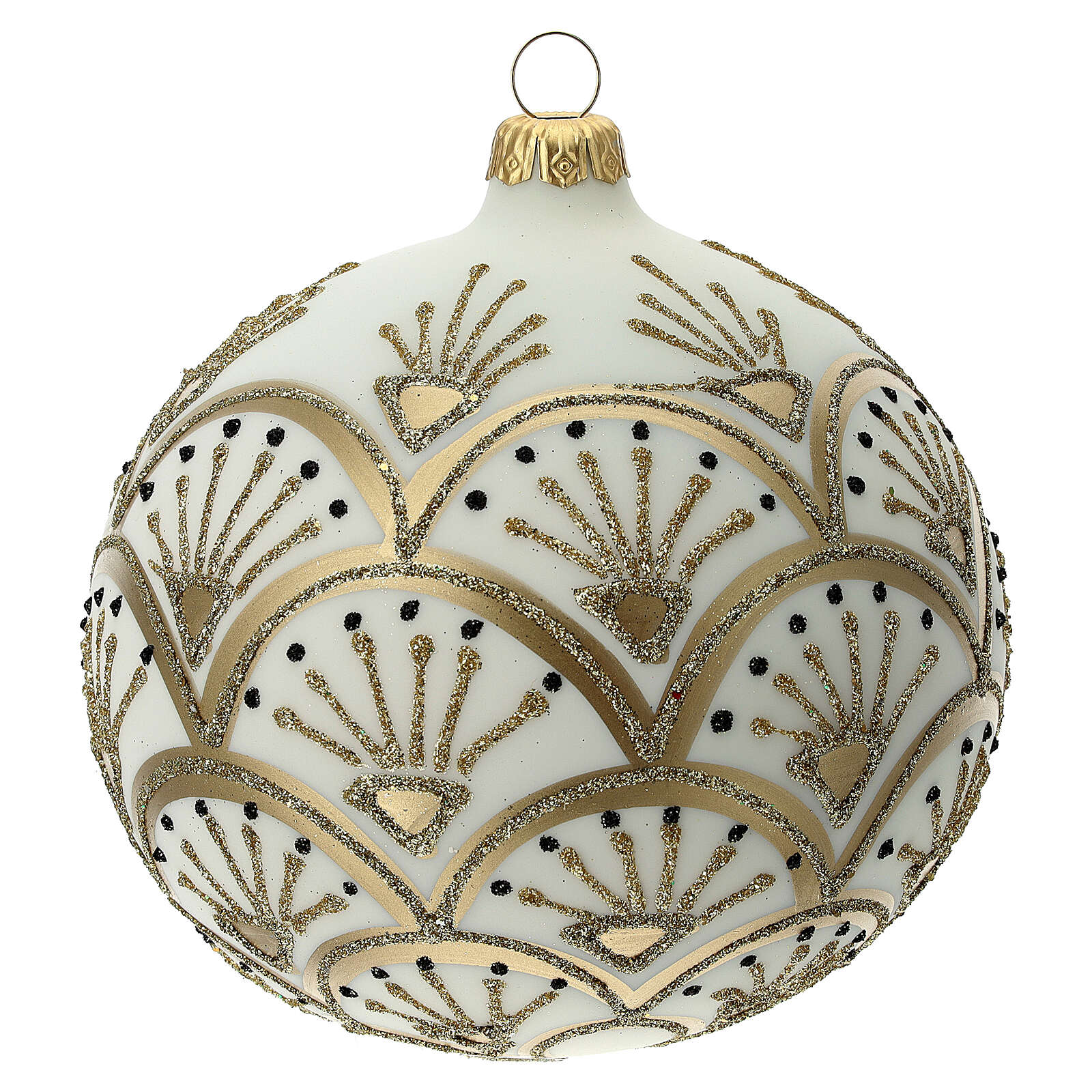 Boule sapin Noël blanc or verre soufflé 120 mm 4